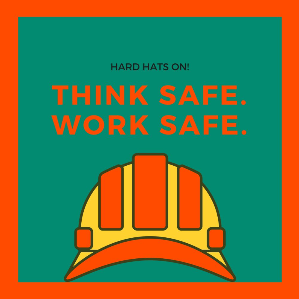Teal Orange Hard Hat for Safety and Health at Work Social Media Graphic